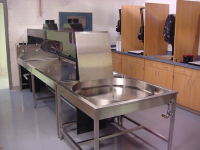 Image of Island Darkroom sink, print washer and squeegee.
